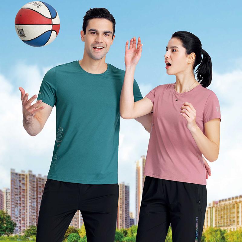 千足龙品牌2021年哥登冰丝系列33812休闲圆领T恤,团体服定制